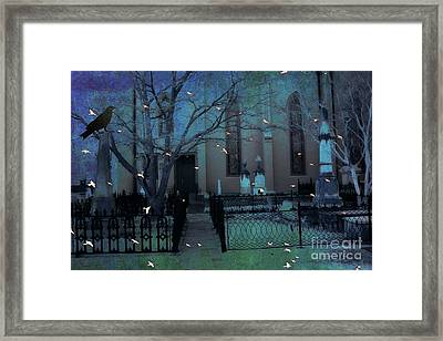 Gothic Surreal Ravens Crows Cemetery Landscape Framed Print by Kathy Fornal