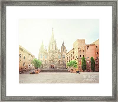 Gotic Cathedral  Of Barcelona Framed Print