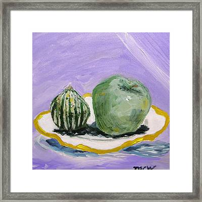 Gourd And Green Apple On Haviland Framed Print by Mary Carol Williams
