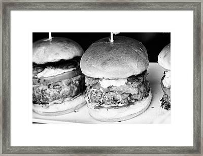 Gourmet Burgers On Display Framed Print