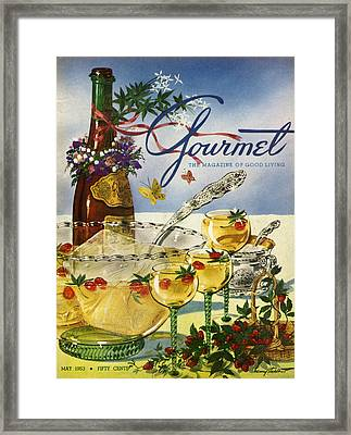 Gourmet Cover Featuring A Bowl And Glasses Framed Print