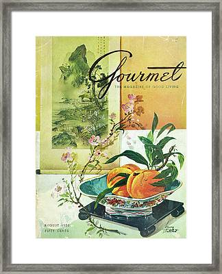Gourmet Cover Featuring A Bowl Of Peaches Framed Print