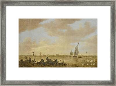 Goyen An Estuary Scene With Fisherman  Framed Print by MotionAge Designs
