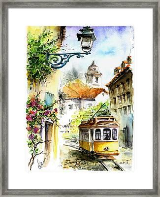 Graca Lisbon Tram Color Framed Print