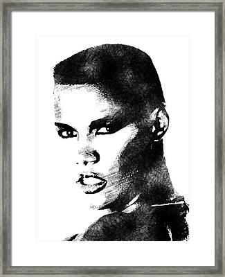 Grace Jones Bw Portrait Framed Print