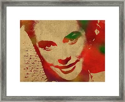 Grace Kelly Watercolor Portrait Framed Print