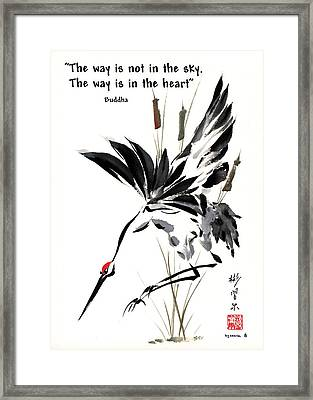 Framed Print featuring the painting Grace Of Descent With Buddha Quote I by Bill Searle