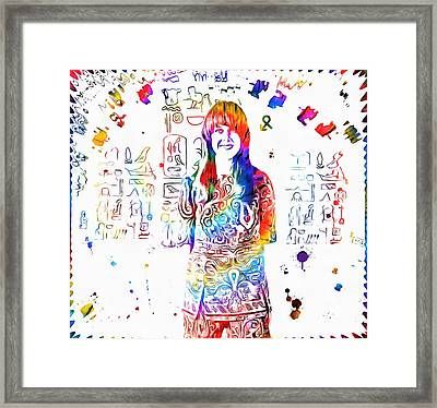 Grace Slick Jefferson Airplane Paint Splatter Framed Print by Dan Sproul
