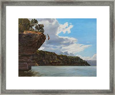 Graceful Cliff Dive Framed Print