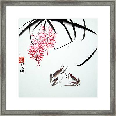 Graceful Frogs Framed Print by Ming Yeung