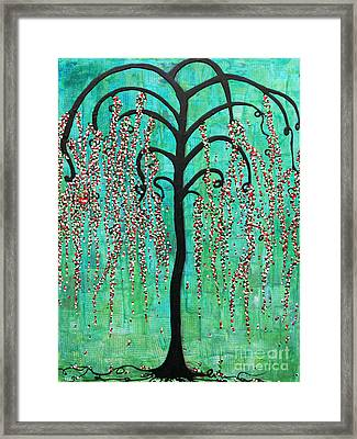Framed Print featuring the mixed media Graceful Willow Print by Natalie Briney