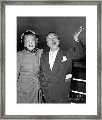 Gracie Fields And Husband, Monty Banks. Framed Print by Barney Stein