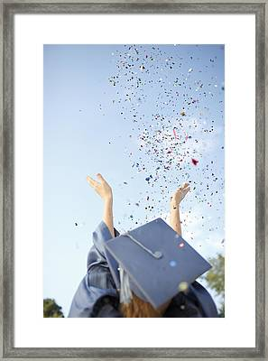 Graduate Tossing Confetti Seen Framed Print
