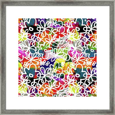 Framed Print featuring the mixed media Graffiti Garden 2- Art By Linda Woods by Linda Woods