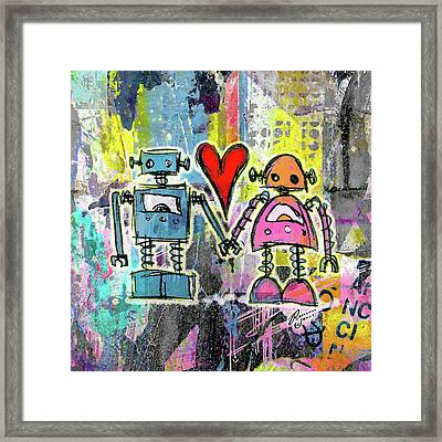 Graffiti Pop Robot Love Framed Print