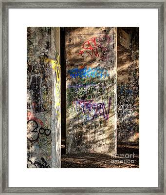 Framed Print featuring the photograph Graffiti Shadows by Terry Rowe