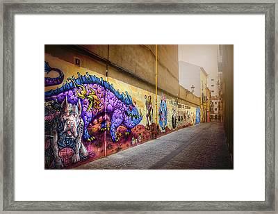 Graffiti Street In Valencia Spain  Framed Print