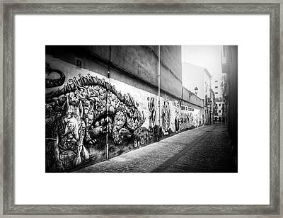 Graffiti Street Valencia Spain In Black And White  Framed Print