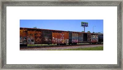 Graffiti Train With Billboard Framed Print