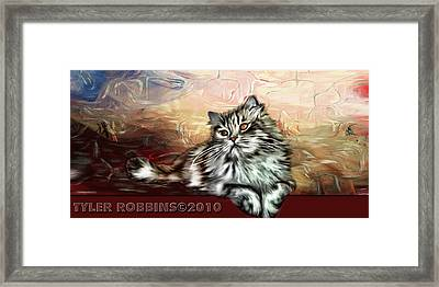 Framed Print featuring the painting Grafitti Kitty by Tyler Robbins