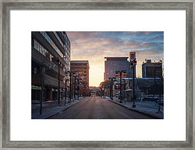 Graham Avenue Sunset Framed Print by Bryan Scott