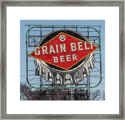 Grain Belt Beer Sign Framed Print by Paul Freidlund