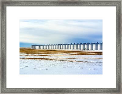 Grain Bin Row Framed Print by Todd Klassy