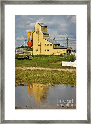 Grain Elevator In Balzac Alberta Framed Print by Louise Heusinkveld