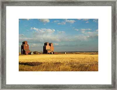 Grain Elevators Stand In A Prairie Framed Print by Pete Ryan