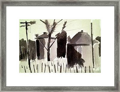 Grain Silos Amid The Wheat Framed Print by Charlie Spear