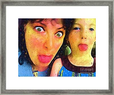 Gramma And Avrey Being Silly Framed Print by Deborah MacQuarrie-Selib