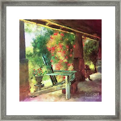 Framed Print featuring the digital art Gramma's Front Porch by Lois Bryan