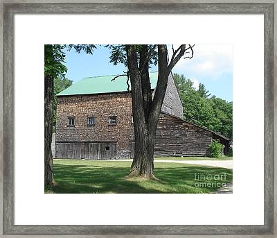 Grammie's Barn Through The Trees Framed Print by Kerri Mortenson
