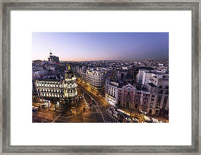 Gran Via Of Madrid, Spain Framed Print