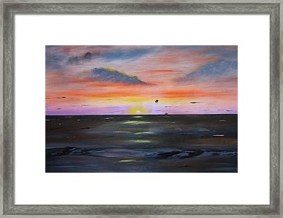 Grand Bend Para Sail  Framed Print by Victor Alderson