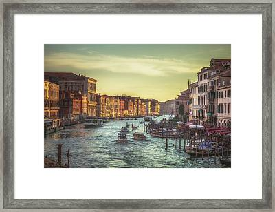 Grand Canal As The Sun Is Setting Framed Print by Chris Fletcher