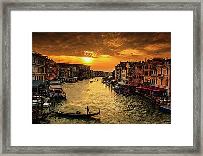 Framed Print featuring the photograph Grand Canal At Sunset by Andrew Soundarajan
