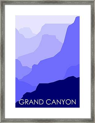 Grand Canyon Blue - Text Framed Print by Asbjorn Lonvig
