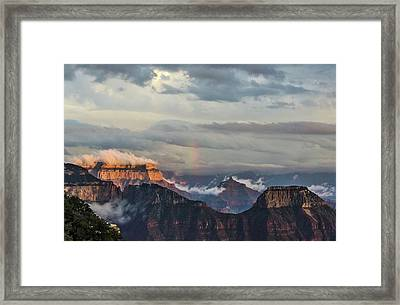 Grand Canyon Monsoon Rainbow Framed Print