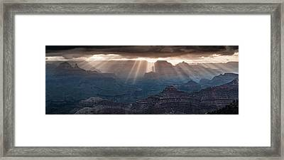 Framed Print featuring the photograph Grand Canyon Morning Light Show Pano by William Lee