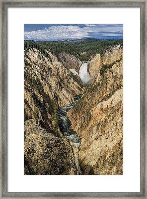 Grand Canyon Of The Yellowstone And Yellowstone Falls Framed Print