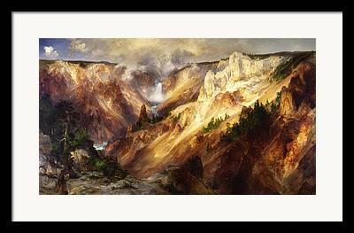 Great Falls Of Yellowstone Framed Prints