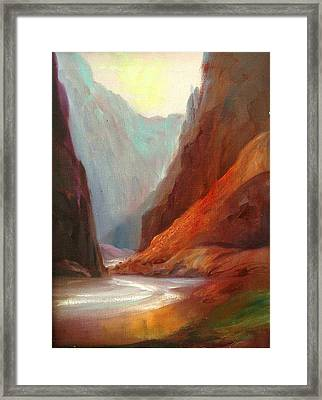 Grand Canyon Rafting Framed Print by Sally Seago