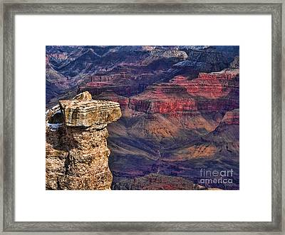 Framed Print featuring the photograph Grand Canyon Stacked Rock by Roberta Byram