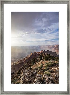 Grand Canyon Sunset Storm Glow Framed Print by John McGraw