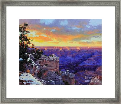 Grand Canyon Winter Sunset Framed Print by Gary Kim