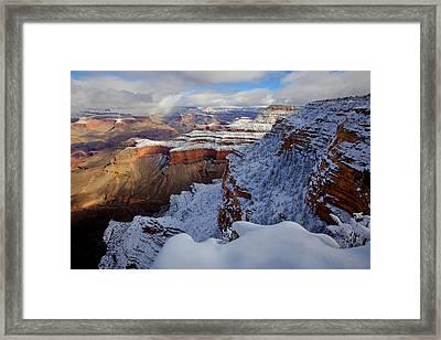 Yavapai Point In Snow Framed Print by Mike Buchheit
