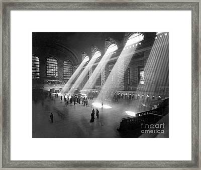 Grand Central Station Sunbeams Framed Print by American School
