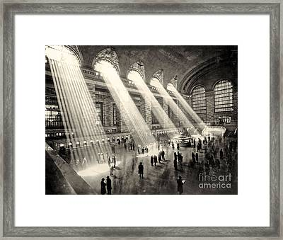 Grand Central Terminal, New York In The Thirties Framed Print by American School