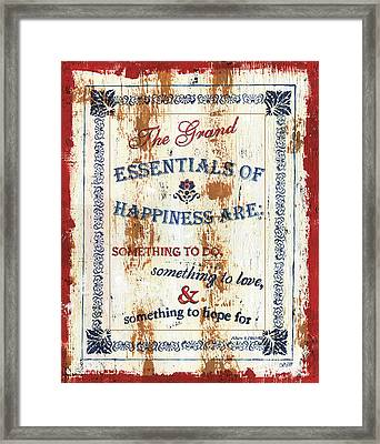 Grand Essentials Of Happiness Framed Print by Debbie DeWitt